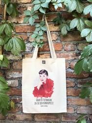 KG Hediyelik Eşyalar - Körüklü Ham Bez Çanta - Audrey Hepburn