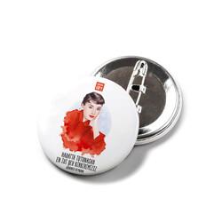 KG Hediyelik Eşyalar - Audrey Hepburn - İğneli Buton Rozet