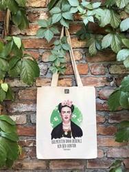 KG Hediyelik Eşyalar - Körüklü Ham Bez Çanta - Frida Kahlo