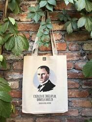 Körüklü Ham Bez Çanta - Mustafa Kemal Atatürk - Thumbnail