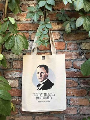 Körüklü Ham Bez Çanta - Mustafa Kemal Atatürk